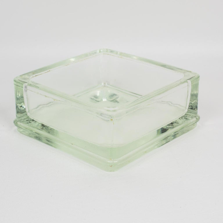 Designed by Le Corbusier for Lumax Molded Glass Desk Accessory Ashtray Catchall For Sale 2