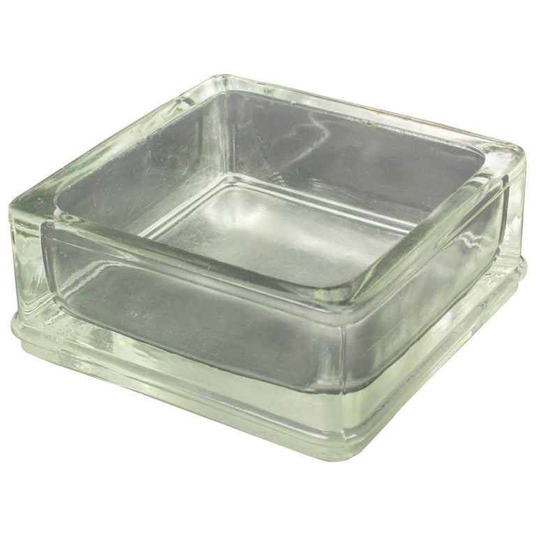 Designed by Le Corbusier for Lumax Molded Glass Desk Accessory Ashtray Catchall For Sale