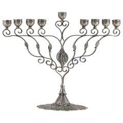 Designed Yemenite Made in Israel Handmade Sterling Silver Menorah for Hanukkah