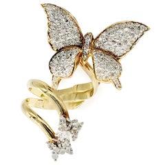 Designer 18 Karat Gold and 1.50 Carat Diamond Butterfly Ring