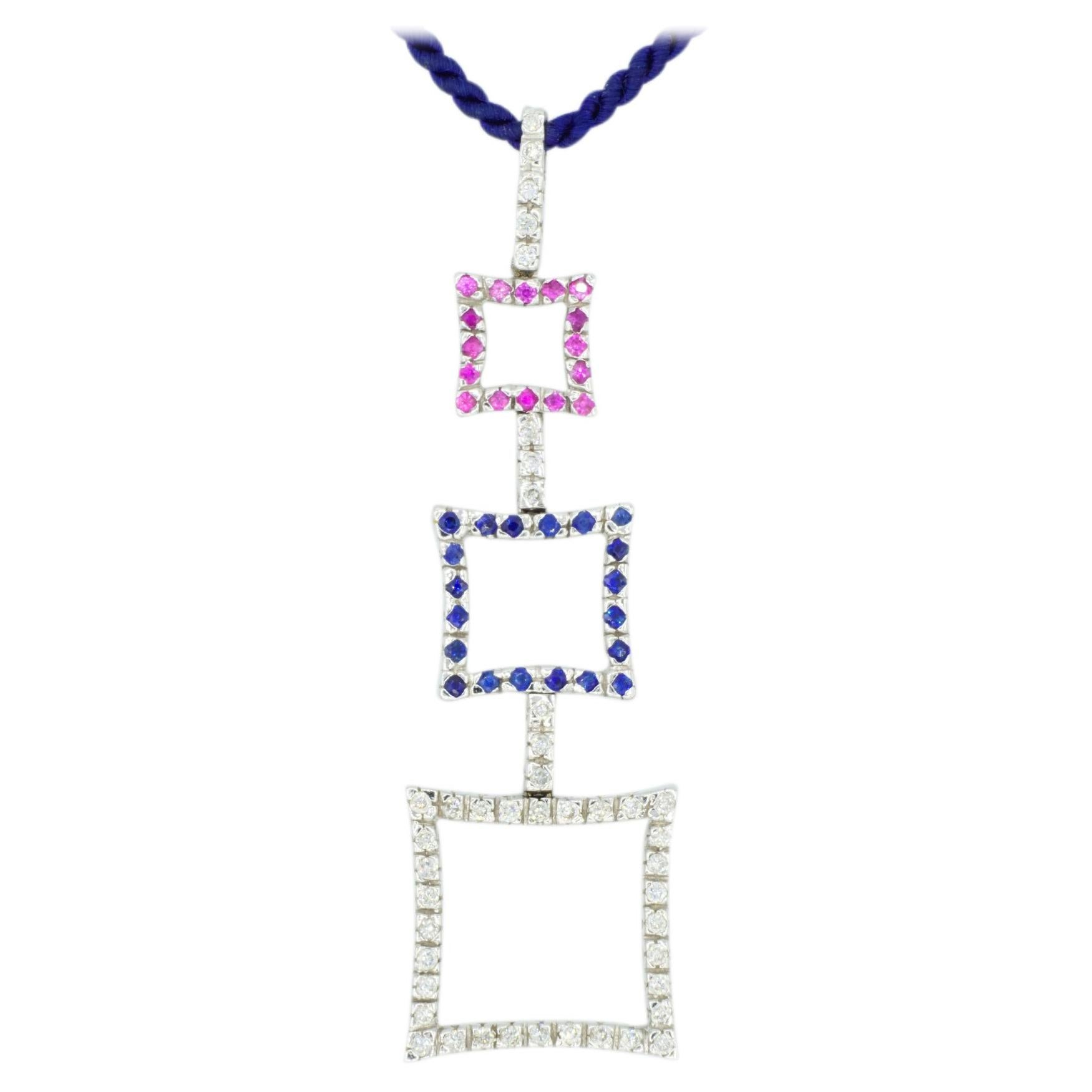 18 Karat White Gold White Sapphire, Pink Sapphire and Blue Sapphire Pendant