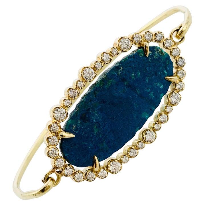 Designer 18 Karat Yellow Gold Diamond and Azurite Bangle Bracelet For Sale