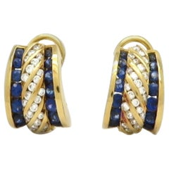 Designer 18K Charles Krypell Estate Round Diamond and Sapphire Fashion Earrings