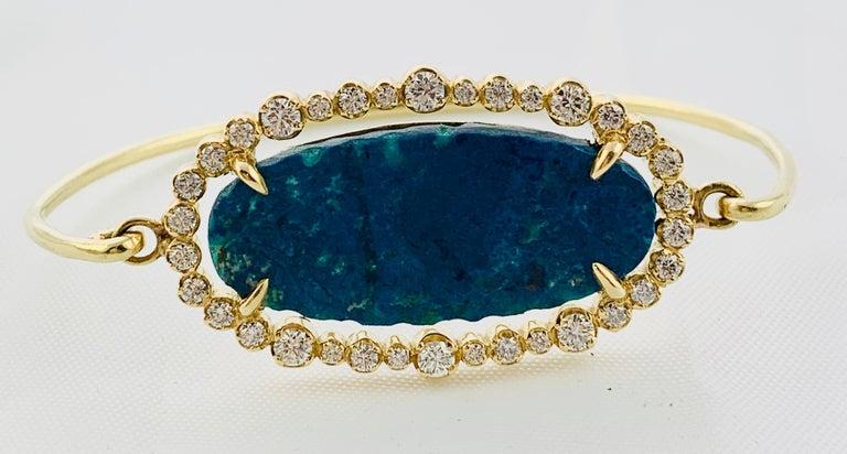 Designer 18 Karat Yellow Gold Diamond and Azurite Bangle Bracelet For Sale 5