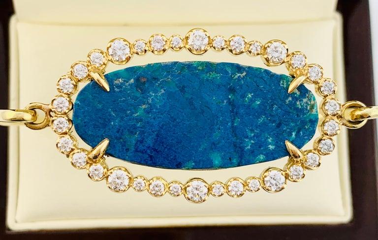 Designer 18 Karat Yellow Gold Diamond and Azurite Bangle Bracelet For Sale 6
