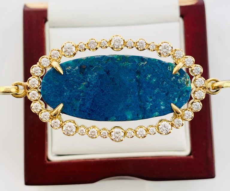 Designer 18 Karat Yellow Gold Diamond and Azurite Bangle Bracelet For Sale 7