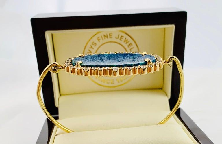 Art Deco Designer 18 Karat Yellow Gold Diamond and Azurite Bangle Bracelet For Sale