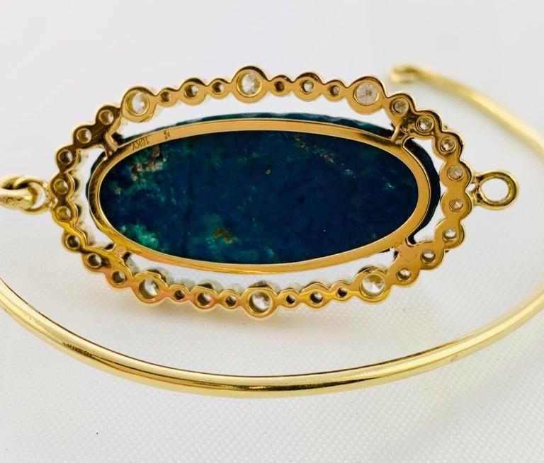 Designer 18 Karat Yellow Gold Diamond and Azurite Bangle Bracelet For Sale 3