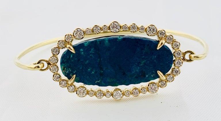 Designer 18 Karat Yellow Gold Diamond and Azurite Bangle Bracelet For Sale 4