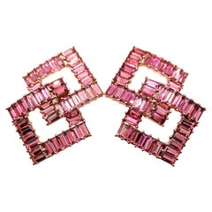 Designer 21.65 Carat Pink Tourmaline Earring in 18 Karat Rose Gold