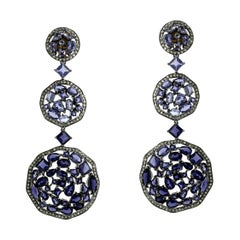 Designer 3 Tier Mosaic Iolite and Diamond Dangle Earring in Silver and Gold
