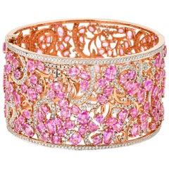 Designer 49.92 Carat Pink Sapphire Bracelet in 18 Karat Rose Gold with Diamonds
