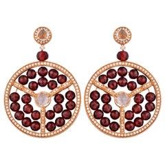 Designer 62.18 Carat Red Garnet Earrings in 18 Karat Rose Gold with Diamonds