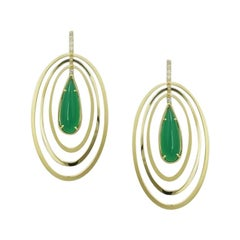 Designer Agate Yellow Gold Lever-Back Oval Geometric Earrings for Her
