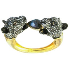 Designer Alexis Bittar Signed Crystal Double Panther Head Clamper Bracelet