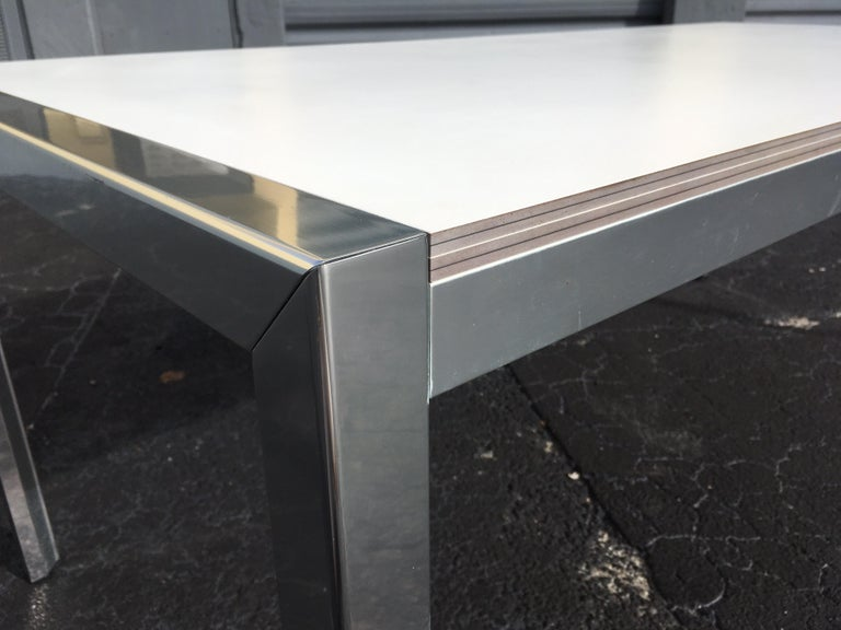Designer Aluminum Dining Table or Desk, Great Quality, 1970s For Sale 8