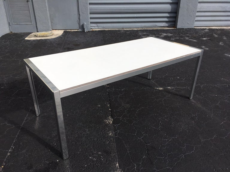 Designer Aluminum Dining Table or Desk, Great Quality, 1970s For Sale 9