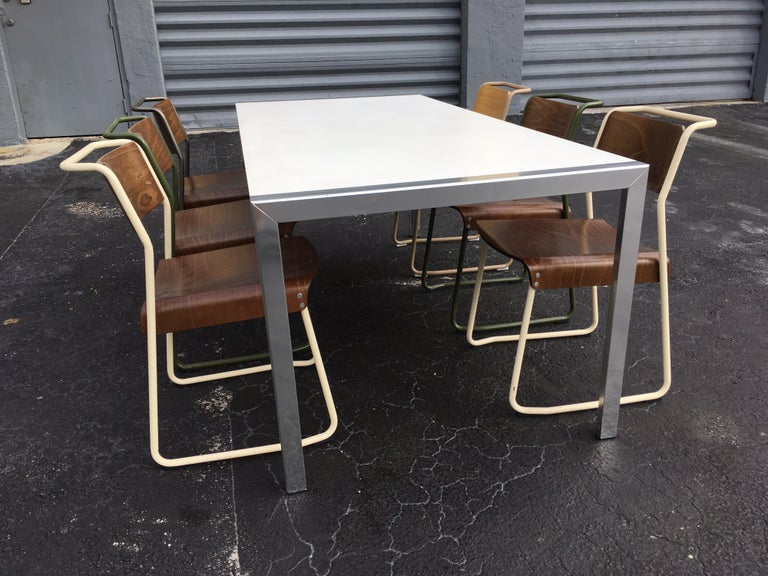 Late 20th Century Designer Aluminum Dining Table or Desk, Great Quality, 1970s For Sale
