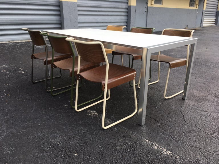 Designer Aluminum Dining Table or Desk, Great Quality, 1970s For Sale 1