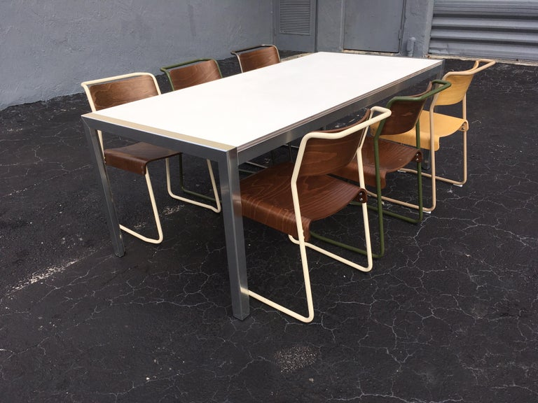Designer Aluminum Dining Table or Desk, Great Quality, 1970s For Sale 3