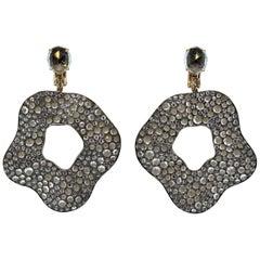 Designer Aquamarine Gold-Silver Drop Earrings