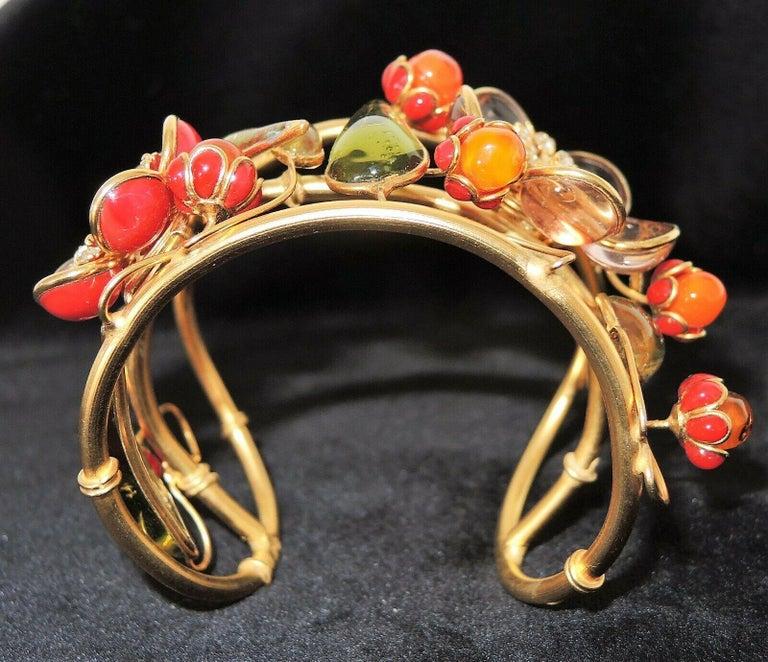 Modern Designer AUGUSTINE Paris by THIERRY GRIPOIX Signed Flower Cuff Bracelet  For Sale