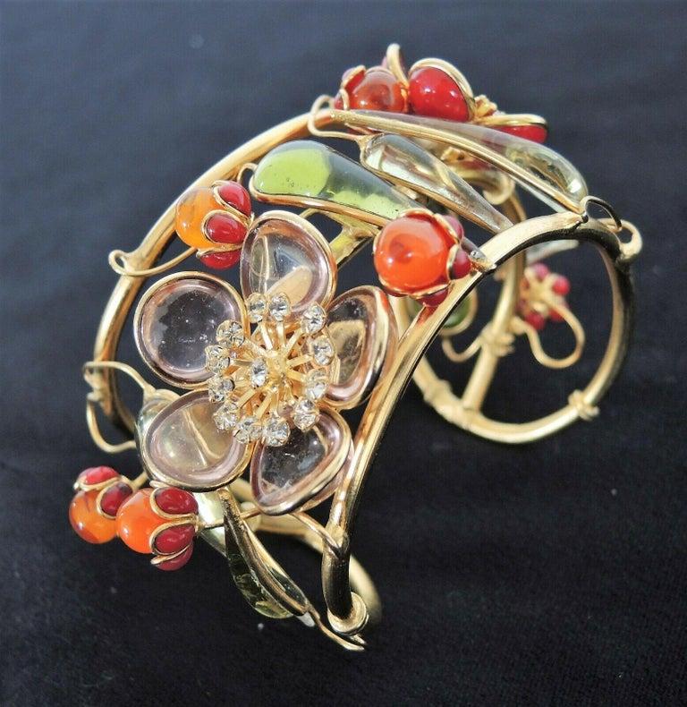 Round Cut Designer AUGUSTINE Paris by THIERRY GRIPOIX Signed Flower Cuff Bracelet  For Sale