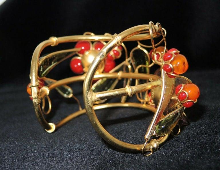 Women's Designer AUGUSTINE Paris by THIERRY GRIPOIX Signed Flower Cuff Bracelet  For Sale