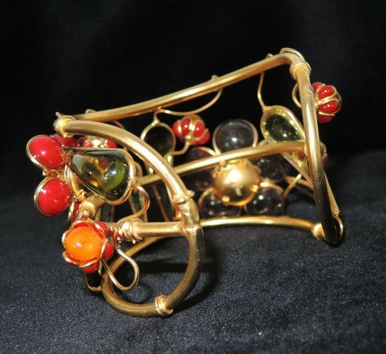 Designer AUGUSTINE Paris by THIERRY GRIPOIX Signed Flower Cuff Bracelet  For Sale 1