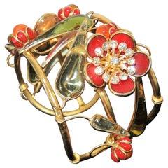 Designer AUGUSTINE Paris by THIERRY GRIPOIX Signed Flower Cuff Bracelet
