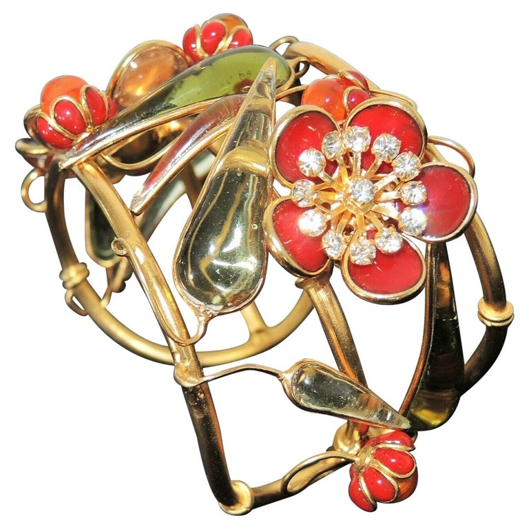 Designer AUGUSTINE Paris by THIERRY GRIPOIX Signed Flower Cuff Bracelet  For Sale