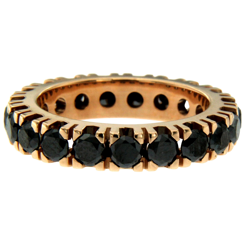 Designer Black Diamond Gold Eternity Ring