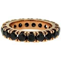Designer Black Diamond Gold Eternity Ring