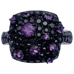 Designer Black Diamond Purple Amethyst White 18 Karat Gold Ring