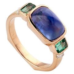 Designer Blue Sapphire Ring with Diamonds Set in 18 Karat Yellow Gold