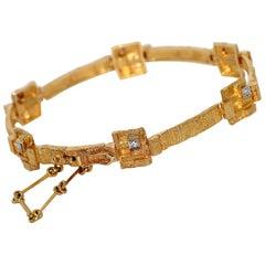 Designer Bracelet, Bangle by Lapponia, 18 Karat Yellow Gold with Diamonds