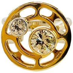 Designer C Wade Original 14 Karat Yellow and White Gold and Diamond Ring