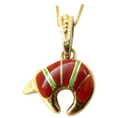 Designer Calvin Begay 14 Karat Gold Coral and Turquoise Inlay Bear Necklace