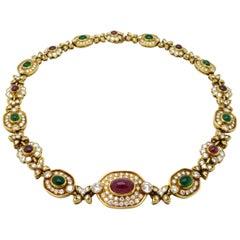 Designer Cartier 18 Karat Yellow Gold Emerald, Ruby, and Diamond Choker Necklace