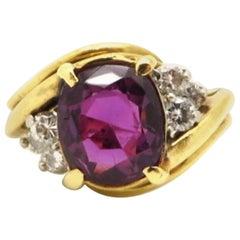Designer Cartier GIA Certified Purple Sapphire and Diamond 18 Karat Gold Ring