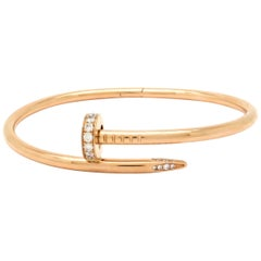 Designer Cartier Juste un Clou 18 Karat Rose Gold Pave Diamond Bangle Bracelet
