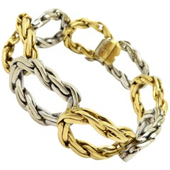 Designer Cartier London Two-Tone 18 Karat Gold Twisted Oval Link #23045 Bracelet