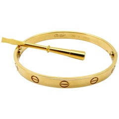 Designer Cartier Love 18 Karat Yellow Gold Bangle Bracelet