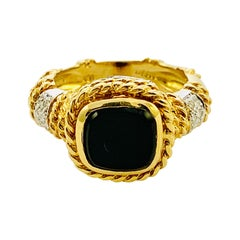 Designer Cassis 18K yellow Gold, Diamond & Onyx ladies Ring Size 5.75