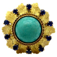 Designer Cellino Estate Green Turquoise and Sapphire 18 Karat Gold Leaf Ring