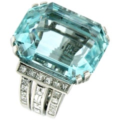 Designer Certified 42 Carat Aquamarine 2.79 Carat Diamond Gold Ring
