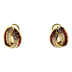 Designer Charles Krypell 18 Karat Yellow Gold Ruby and Diamond Fashion Earrings