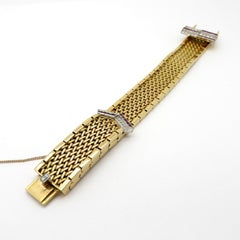 Designer Cherny Ruby and Diamond 18 Karat Gold Belt Buckle Retro Style Bracelet