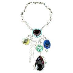 Designer Christian Lacroix Signed Jeweled Heart Multi Charm Statement Necklace