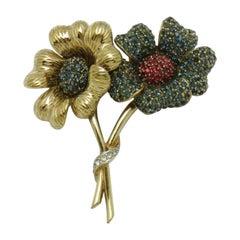 Designer CINER Signed Sparkling Ice Crystal Double Flower Brooch Pin